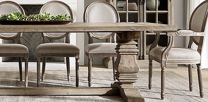 The Salvaged Wood Collection Rh, Restoration Hardware Dining Room