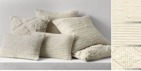 Textured Merino Wool Pillow Collection Free Shipping