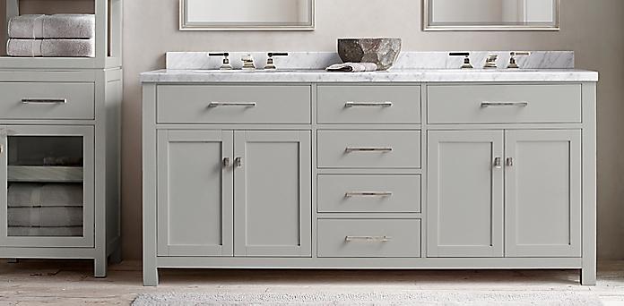 Hutton Vanity Bath Collection - Fog/Polished Nickel | RH