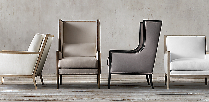French Contemporary Slope Wing Chair Collection Rh