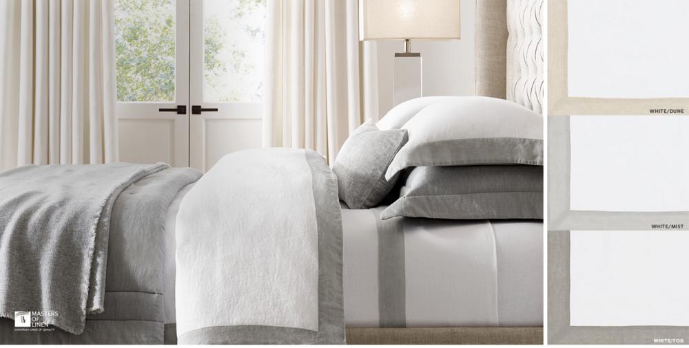 italian ultra fine bordered linen bedding collection free shipping - Restoration Hardware Bedding