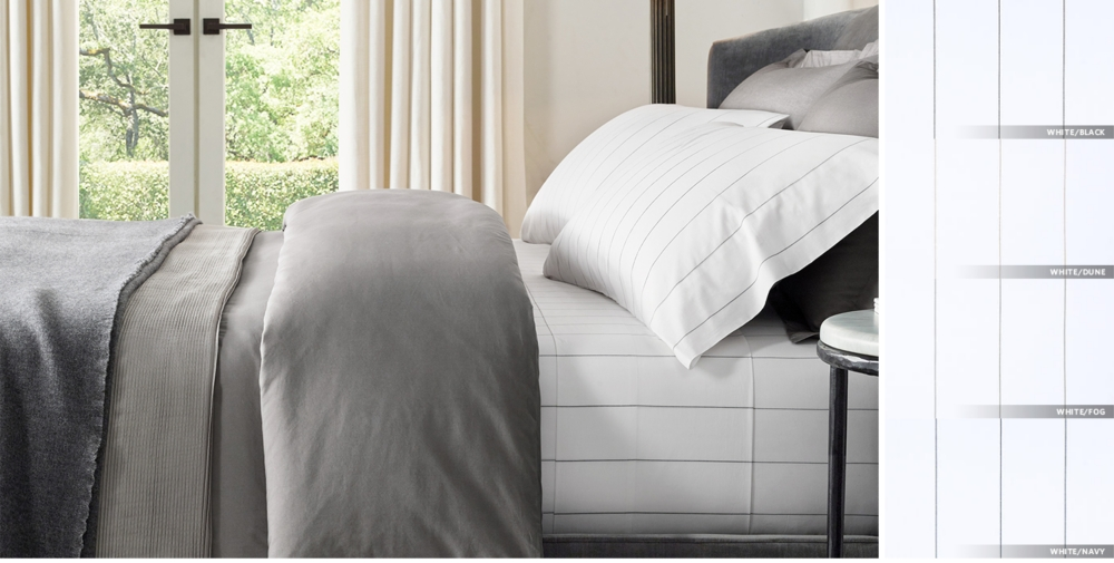 Italian Pinstripe Percale Bedding Collection Free Shipping