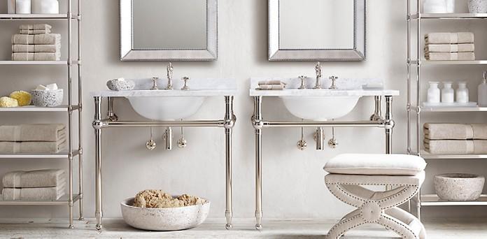 Gramercy Metal Sinks Washstands RH - Rh bathroom