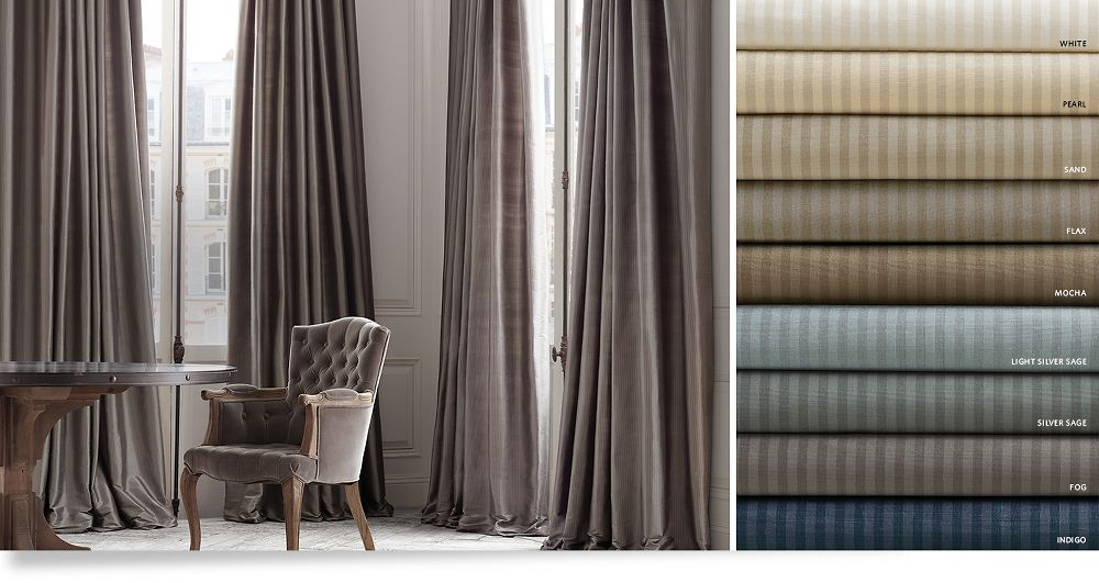 Drapery collections restoration hardware for Restoration hardware silk curtains