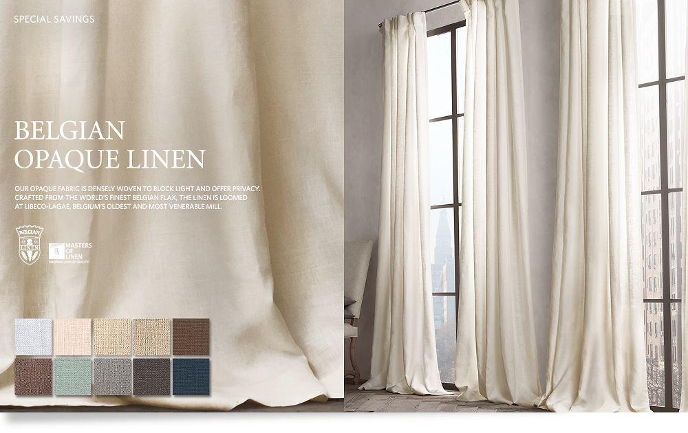 Opaque Belgian Linen Drapery