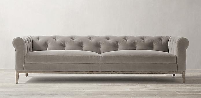 Italia Chesterfield Fabric Sofa - Oak Base   RH