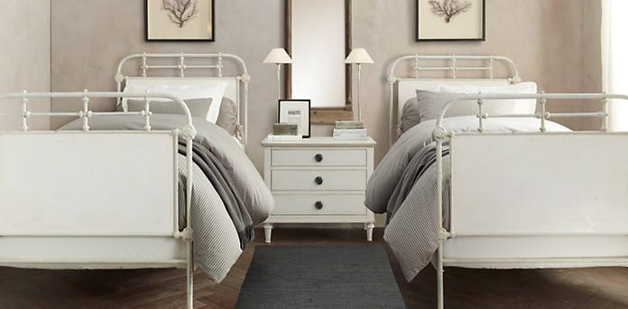 French Academie Panel Bed Collection - Distressed White | RH