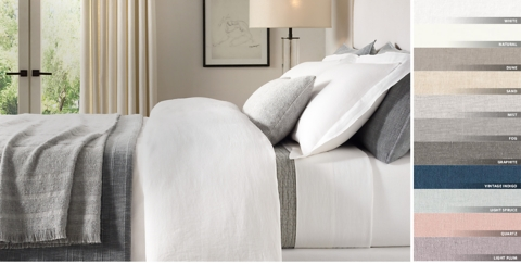 Stonewashed Belgian Linen Bedding Collection Free Shipping