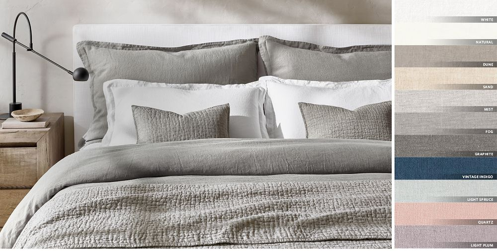 0b0c051628 Stonewashed Belgian Linen Bedding Collection Free Shipping. Shown in White
