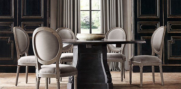 Round Oval Tables Rh, Round Dining Room Tables For 6
