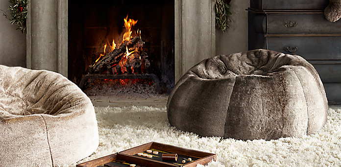 Luxe Faux Fur Bean Bags Restoration Hardware