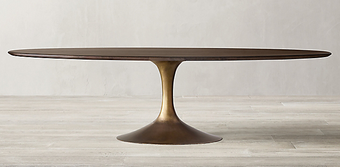 Aero Oval Dining Table Collection - Brown Walnut and Brushed ...