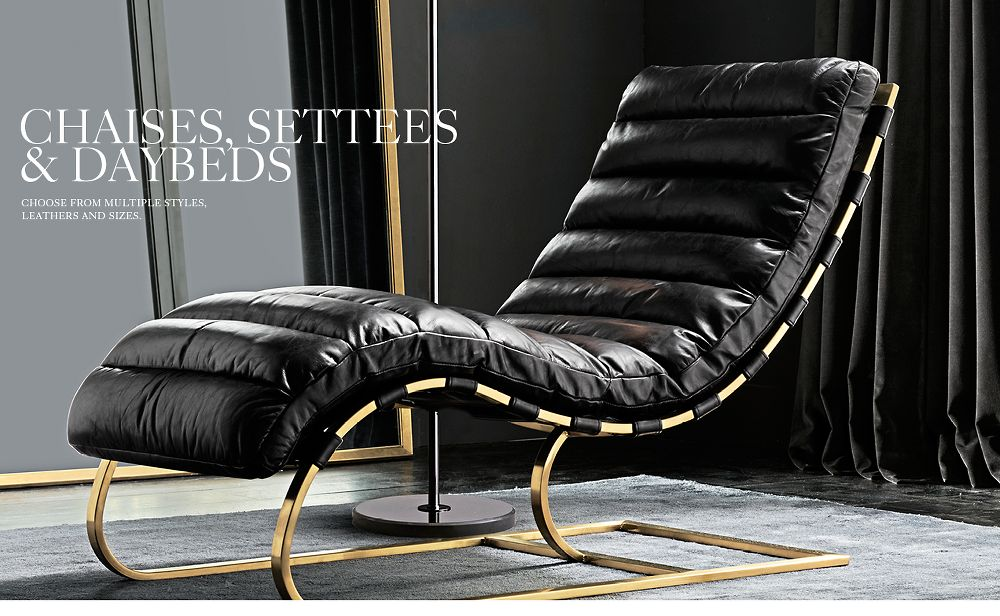 Leather Chaises, Settees and Daybeds