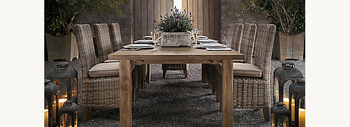 Reclaimed teak restoration hardware for Restoration hardware outdoor dining
