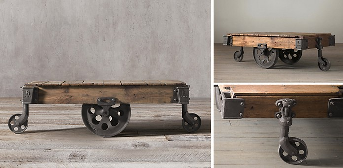 Cart Coffee Table Restoration Hardware.Factory Cart Table Rh