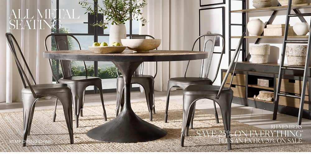 metal dining room chairs All Metal Seating | RH metal dining room chairs