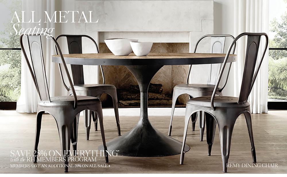 Black Metal Dining Chairs all metal seating | rh