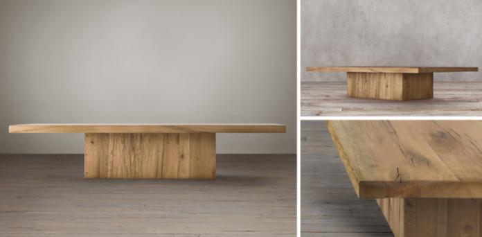 reclaimed russian oak plinth collection - reclaimed natural oak | rh