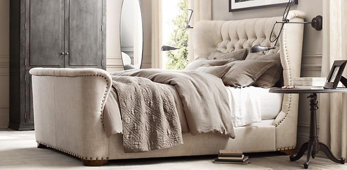 Churchill Fabric Wing Bed Restoration Hardware