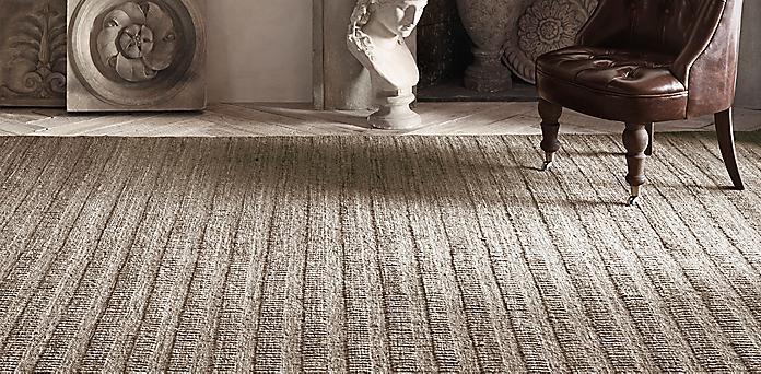 Textured Stripe Wool Rug Collection Rh