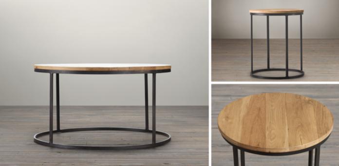 Watts reclaimed oak round coffee table restoration hardware