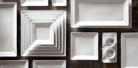 Chinese Porcelain Square-Rimmed Dinnerware Collection & Chinese Porcelain Square-Rimmed Dinnerware Collection - White | RH