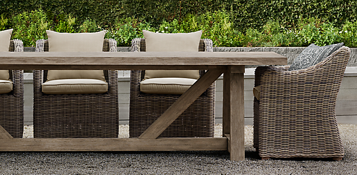 French Beam Teak RH - Outdoor wood rectangular dining table