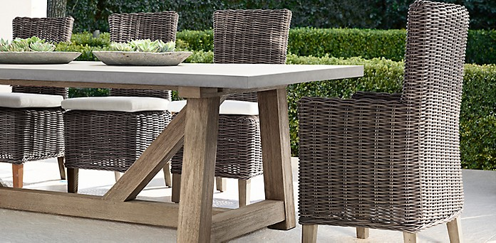 French Beam Weathered Concrete Teak RH - Rh concrete table