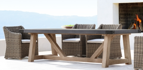 French Beam Concrete U0026 Teak Collection