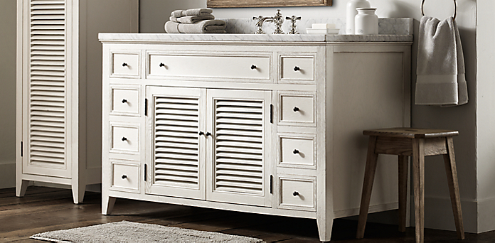 Shutter Bath Collection Distressed White Rh