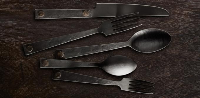 Hammered Steel Rivet Flatware Collection & Hammered Steel Rivet Flatware Collection - Blackened Stainless Steel ...