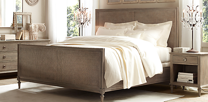 Maison Caned Bed Collection - Antiqued Grey | RH