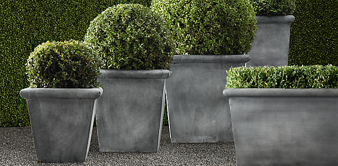 Estate Zinc Tapered Planters | RH on bucket planters, round corrugated planters, urn planters, stone planters, lead planters, resin planters, iron planters, aluminum planters, tall planters, long rectangular planters, window boxes planters, stainless steel planters, corrugated raised planters, old planters, chrome planters, plastic planters, pewter planters, large planters, copper finish planters, wall mounted planters,