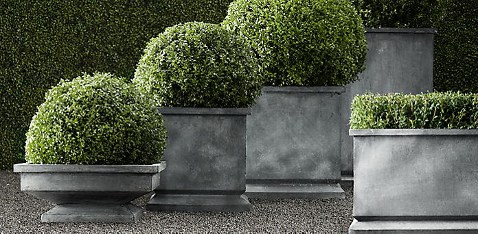 estate zinc footed planters restoration hardware