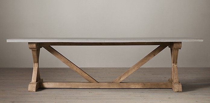 Salvaged Wood Weathered Concrete XBase Collection RH - Rh concrete table