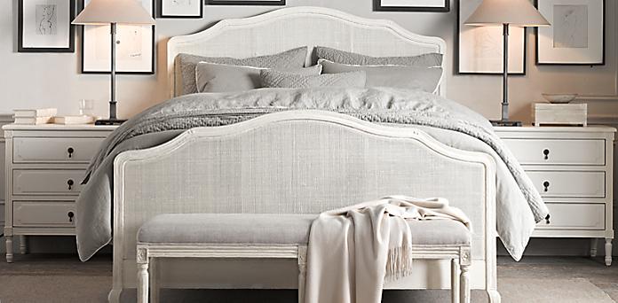 Lorraine Caned Bed Distressed White Oak Restoration Hardware