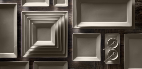 Chinese Porcelain Square-Rimmed Dinnerware Collection & Chinese Porcelain Square-Rimmed Dinnerware Collection - Fog | RH