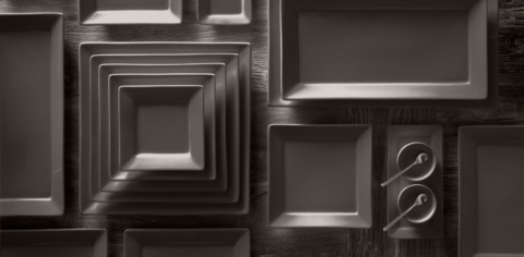 Chinese Porcelain Square-Rimmed Dinnerware Collection & Chinese Porcelain Square-Rimmed Dinnerware Collection - Graphite | RH