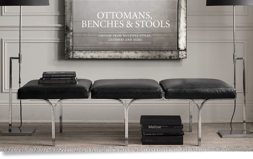 Leather Ottomans, Benches and Stools