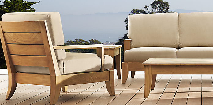 Lounge sofa outdoor teak  Santa Barbara Collection - Natural | RH