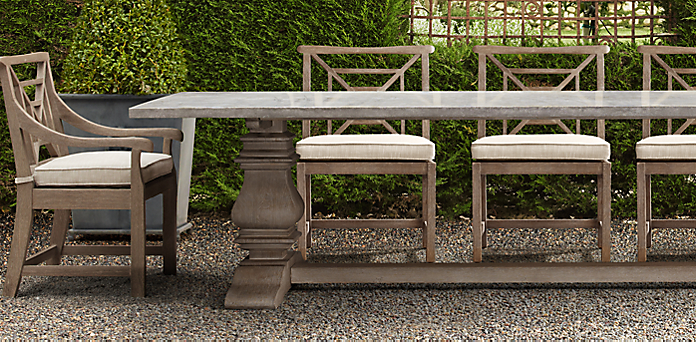 English Trestle Weathered Concrete Teak Collection