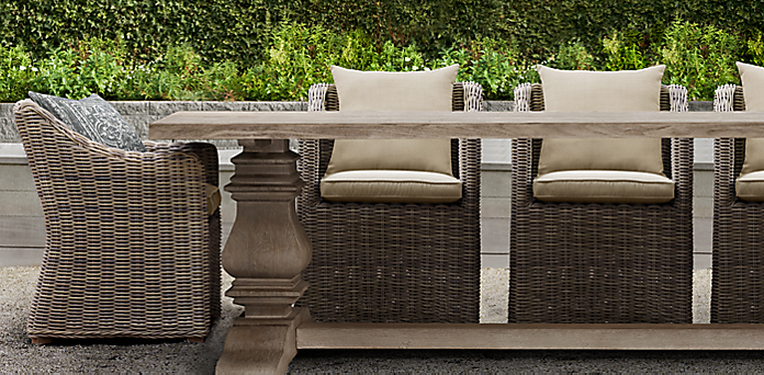 English Trestle Teak RH - Weathered teak outdoor dining table