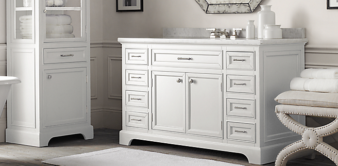 Kent Bath Collection   White Polished Nickel   RH of Kent Bathroom Vanity Restoration Hardware