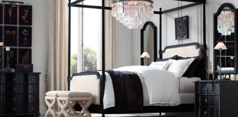 Vienne French Canopy Bed Collection Black Oak Drifted RH