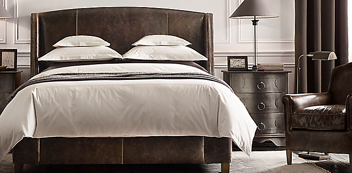 Warner Leather Bed Collection | RH