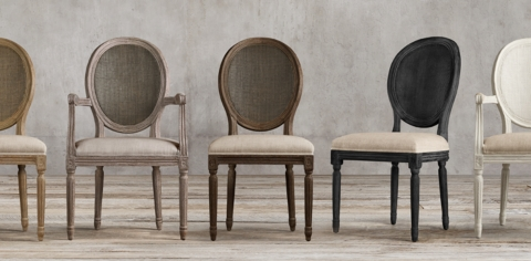 & Vintage French Round Cane Back Collection | RH