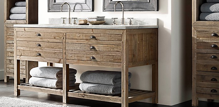 Printmaker\'s Bath Collection - Antiqued Pine | RH
