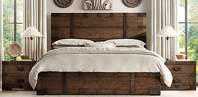 Bedroom collections rh for Camas rusticas