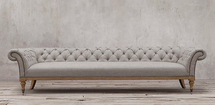Long Chesterfield Sofa Modern 2 Seater Leather