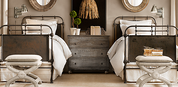 french academie panel bed collection  rust  rh, Headboard designs